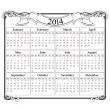 modello vuoto di griglia 2014 calendario — Vettoriale Stock
