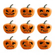 Set vector pumpkins for Halloween — Stock Vector