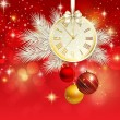 Stock Vector: New year vector background with gold clock