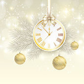New year vector background with gold clock — Stock Vector