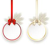 Tarjeta de regalo de navidad con plantilla vector arco del satén — Vector de stock