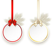 Christmas gift card with satin bow vector template — Stockvektor