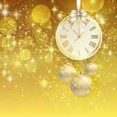 New year vector background with gold clock — Stockvector