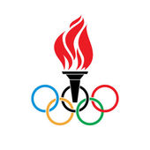 Olympic symbols torch and rings vector — Stock Vector