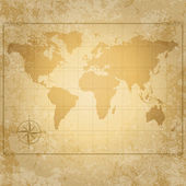 Vintage vector world map with compass — Stock Vector