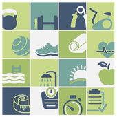 Fitness and wellness club icons set vector — Stock Vector