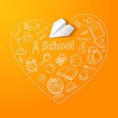 école et avion de papier doodle vector background — Vecteur