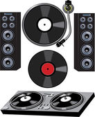 Turntable and Speakers — Stock Vector