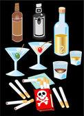 Liquor and Cigarettes — Stock Vector