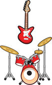 Drums and Music Cartoons — Vetorial Stock