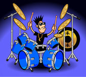 Drums and Music Cartoons — Vector de stock