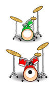 Drums and Music Cartoons — 图库矢量图片