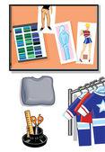 School Cartoon Icons — Stock Vector