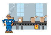 Factory Foreman Assembly Line — Stock Vector