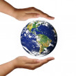 World on the hand — Stock Photo