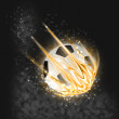Flaming soccer ball - Stock Photo