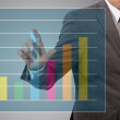 Businessman touch graph — Stock Photo