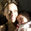 Portrait of young happy mother with her baby — Stock Photo