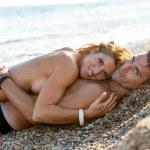Handsome romantic couple embrace. — Stock Photo