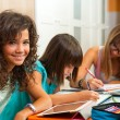 Portrait of teenage girl with friends doing homework. - Stock Photo