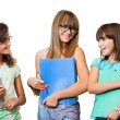 Portrait of teenage students with files. — Stock Photo