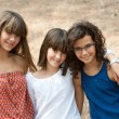 Portrait of three cute teenage girls. — Stock Photo