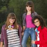 Portrait of three teenage girl friends. — Stock Photo