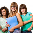 Three teenage students isolated. — Stock Photo