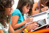 Adolescentes haciendo tareas escolares. — Foto de Stock