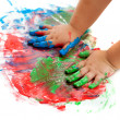 Baby hands painting. — Stock Photo