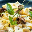Italian taggliatelle with funghi porcini. - Stock Photo