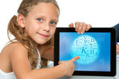 Close up of cute girl pointing on tablet. — Stock Photo