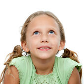 Close up portrait of cute girl looking up. — Stock Photo