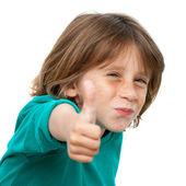 关闭起来的可爱男孩的拇指肖像. — Stockfoto