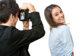 Cute girl posing in front of photographer. — Foto de Stock