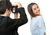 Linda chica posando frente al fotógrafo. — Foto de Stock
