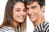 Macro close-up de belo casal teen. — Foto Stock