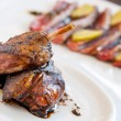 Stock Photo: Roasted duck close up.