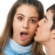 Surprised by kiss on cheek. — Stock Photo