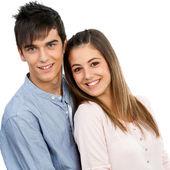 かわいい 10 代のカップルの肖像画. — ストック写真
