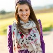 Stock Photo: Portrait of cute teen girl with scarf and beanie.