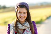 Close up portrait of cute teen girl outdoors. — Stock Photo