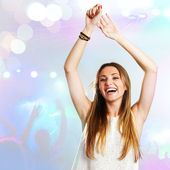 Young woman dancing with party background. — Stock Photo