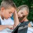 Children doing homework ourdoors. — Stockfoto #22698049