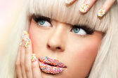 Macro beauty make up portrait. — Stok fotoğraf