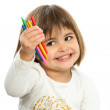 Cute girl ready to draw. — Stock Photo