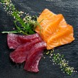 Fresh tuna and salmon sashimi. — Stock Photo