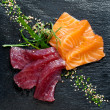 Fresh tuna and salmon sashimi. — Stock Photo #24164257
