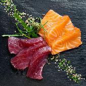 Fresh tuna and salmon sashimi. — Stock Photo