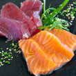 Sashimi tuna and salmon. — Stock Photo